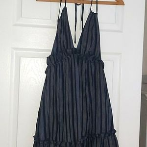 Lulus NWT navy chambray lined Maxi dress